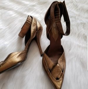 Nine West bronze ankle strap pointed toe heels 6.5